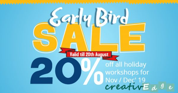 Enjoy 20% early bird discount for our holiday workshops when you enrol your child in August 2019.