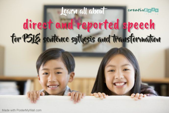 Cover picture with the title - Learn all about direct and reported speech for PSLE sentence synthesis and transformation