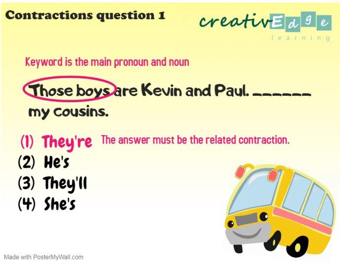 Primary 1 English Grammar Syllabus - contractions question 1