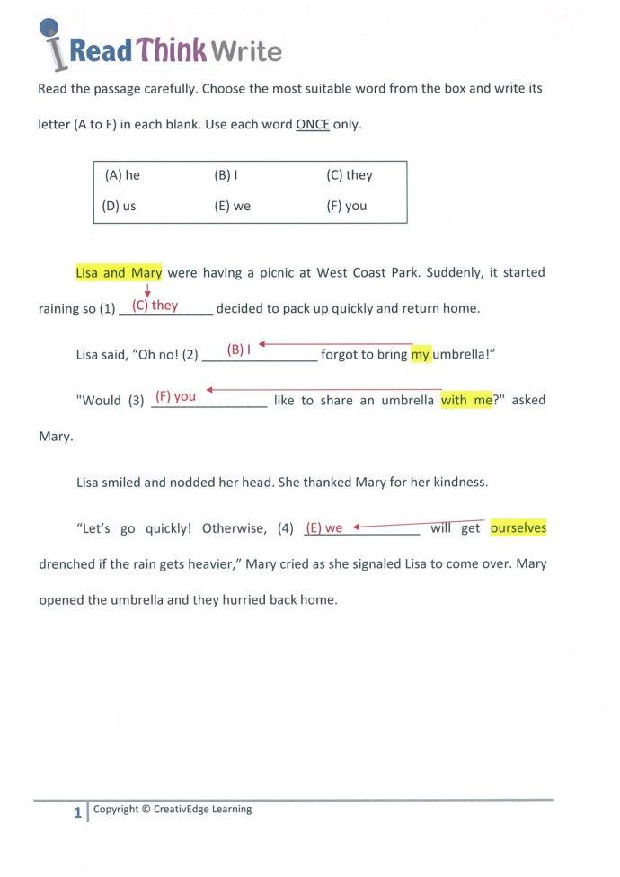 Primary 3 Grammar Cloze Passage