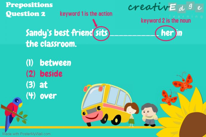 Primary 1 English Grammar Syllabus - prepositions question 2