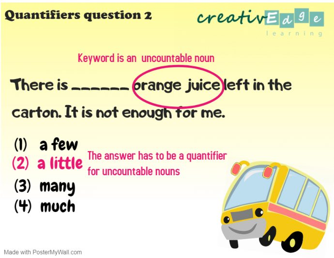 Primary 1 English Grammar Syllabus - quantifiers question 2